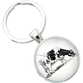 Bassin and Brown Cow Key Ring - Black/White