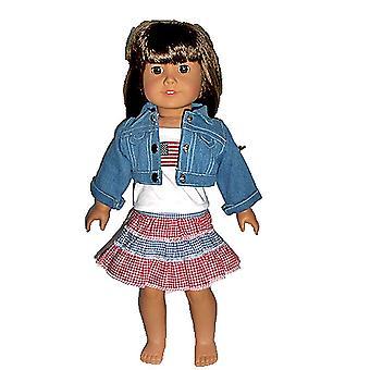 18&Doll Ruházat farmer kabát, felső és piros / fehér / kék szoknya