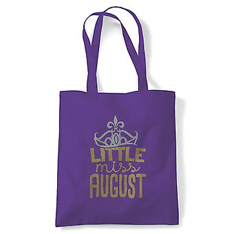 Little Miss August Tote | Happy Birthday Celebration Party Getting Older | Reusable Shopping Cotton Canvas Long Handled Natural Shopper Eco-Friendly Fashion