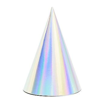 LAST FEW - 6 Iridescent Silver Card Party Hats