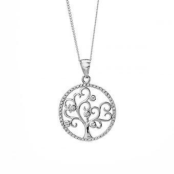 Ewigkeit Sterling Silber Zirkonia Set Baum des Lebens Anhänger und 18'' Kette