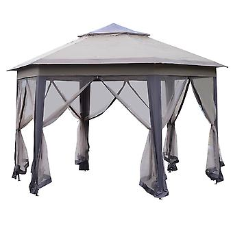 Outsunny 4x4m Easy Set Up Hexagon Gazebo w/ Metal Frame Mesh Curtains Vent Roof Ground Stakes Guy Outdoor Garden Shelter Patio