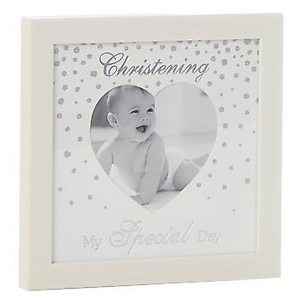 Shudehill Giftware Glitter Dot Christening Heart Photo Frame