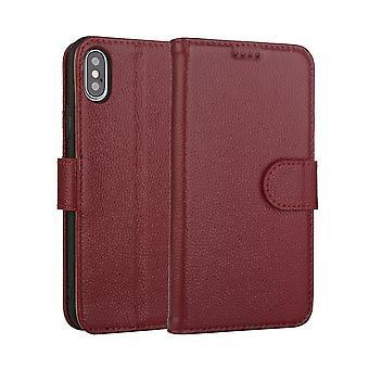 mote rød okseskinn ekte skinn lommebok for iPhone XS MAX tilfelle