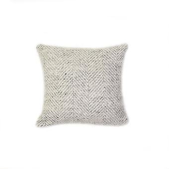 Tweedmill Pure New Wool Fishbone Cushion - Zilvergrijs 30cm X30cm