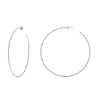 14k White Gold 1.15x75mm Open Hoop Earrings Jewelry Gifts for Women