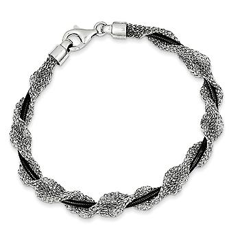 925 Sterling Silver and Ruthenium plated Fancy Mesh Bracelet 7.5 Inch Jewelry Gifts for Women
