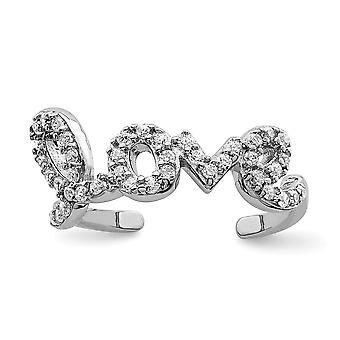 925 Sterling Sølv CZ Cubic Zirconia Simulert Diamond Kjærlighet Tå Ring Smykker Gaver til kvinner