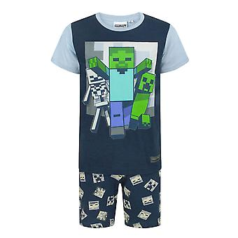 Minecraft Undead Boy's / Barn Kort Marinblå Pyjamas Set