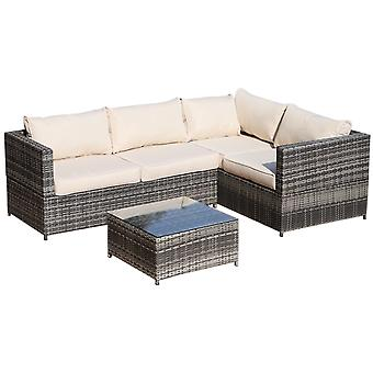 Outsunny Rattan Garden Furniture 4 Seater Outdoor Patio Corner Sofa Chair Set with Coffee Table Thick Cushions Grey