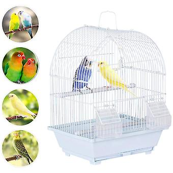 Small Bird Cage for Budgie Finch Lovebird Portable Small Sized Birds Travel Cage Pet Home 39CM White
