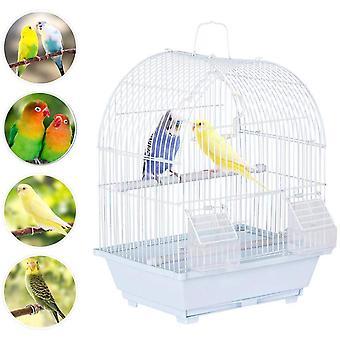 Gaiola de pássaro pequeno para Budgie Finch Lovebird Pássaros Portáteis Pássaros Pequenos Tamanho viajam Gaiola Pet Home 39CM Branco