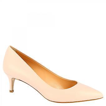 Leonardo Shoes Women's handmade low heels pumps shoes powder pink napa leather