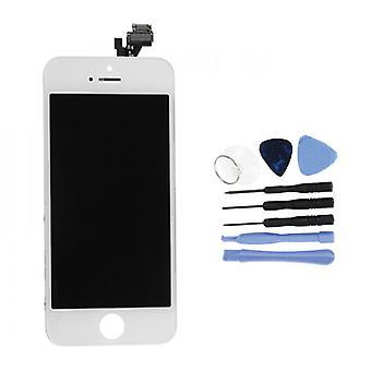 الاشياء المعتمدة® iPhone 5 شاشة (شاشة تعمل باللمس + LCD + أجزاء) A + الجودة - أبيض + أدوات