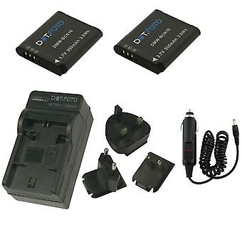 Dot.Foto Panasonic DMW-BCN10 - 3.7v/950mAh Battery (2-Pack) and Battery Travel Charger