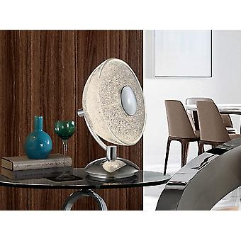 Schuller Lua - Table lamp of 1 LED light, made of chromed metal and aluminium. Semi-spherical glass shade with granulated glass texture inside. 10W LED.  700 lm.  4.000K. - 726012