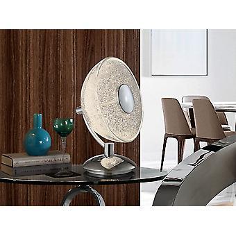 Schuller Lua - Lampe de table de 1 lumière LED, en métal chromé et en aluminium. Ombre en verre semi-sphérique avec texture en verre granulé à l'intérieur. 10W LED.  700 lm.  4.000K. - 726012