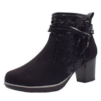 Jana Soft Line 25321 Runner Stylish Wide Fit Smart Boot In Black Kombi