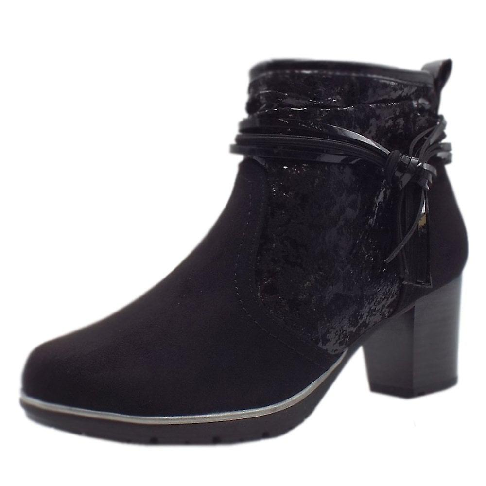 Jana Soft Line 25321 Runner Stylish Wide Fit Smart Boot In Black Kombi FmZfQ