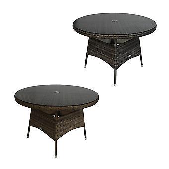 Charles Bentley 4-sits rund rotting mat bord med parasoll hål för paraply-väder beständig i grå/naturlig-medium storlek