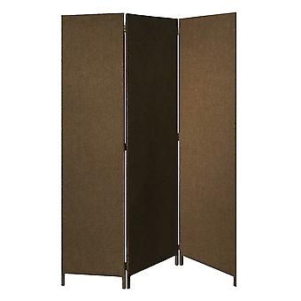 Brown Upholstered 3 Panel Room Divider Screen