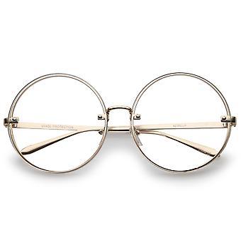 Oversize Metal Slim Tempel flach Objektiv runden Brillen 65mm