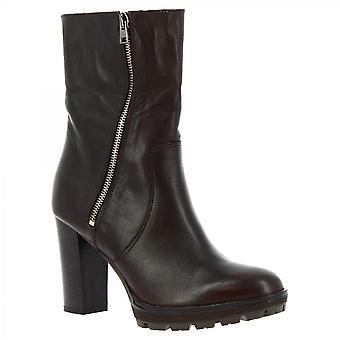 ليوناردو أحذية النساء & أبوس؛ق الكعب اليدوي منتصف أحذية العجل الأحذية البني الداكن جلد العجل