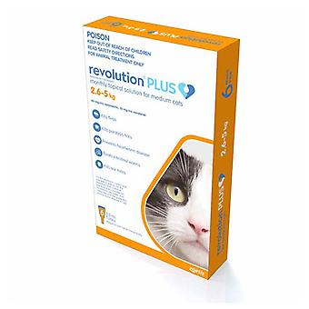 Revolution Plus Flea, Worm And Tick Prevention For Medium Cats 5.6-11 lbs (2.5-5 kg), Orange 6 Pack
