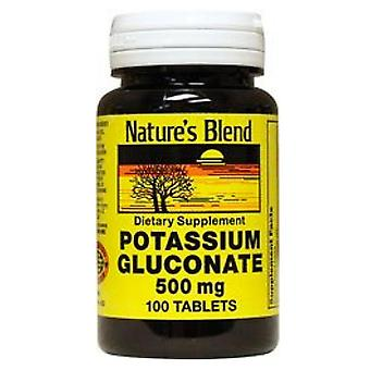 Nature's blend potassium gluconate, 500 mg, tablets, 100 ea