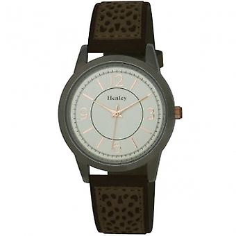 Henley Ladies Analogue Two Tone Silver Dial Suedette Sand Strap Watch H06064.10