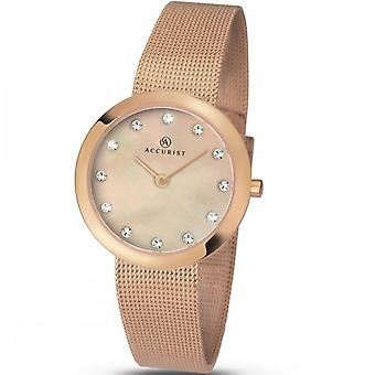 Accurist Ladies Round Stone Set Mother Of Pearl Dial Rose Gold Mesh Bracelet Watch 8128