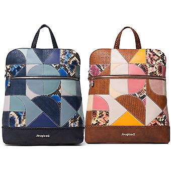 Desigual Women's Ayax Nanaimo Geometric Puzzle Patchwork Backpack