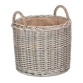Cesto di archiviazione log di Wicker di vimini rettidati a linea media