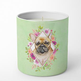 Fawn French Bulldog Green Flowers 10 oz Decorative Soy Candle