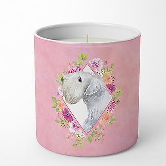Sealyham Terrier Pink Flowers 10 oz Decorative Soy Candle