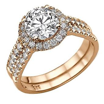 1.9 karat E SI2 diamant Engagement Ring 14K Rose Gold Halo dobbelt skanken runde