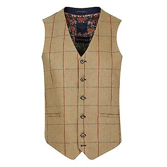 Brown Herringbone With Red & Navy Check Waistcoat