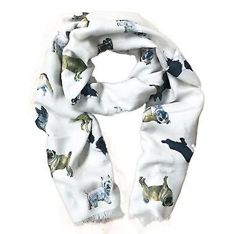 At Home In The Country Polyester Twill 70cm x 190cm Scarf - Doggie Lovers