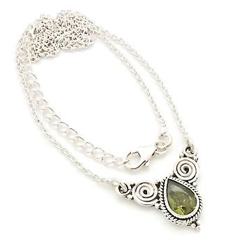 Peridot Necklace 925 Silver Sterling Silver Chain Necklace Green (MCO 09-59)