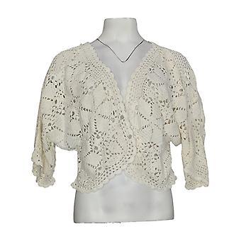 Serengeti Women's Sweater Hand Crocheted Short Sleeve Shrug Ivory