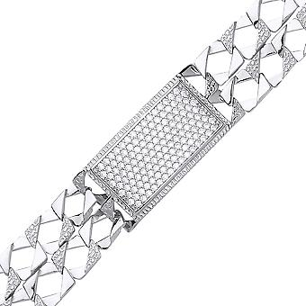Jewelco London Boys Rhodium Plated Silver white Round cubic zirconia Barked Lizard Curb Pave ID Identity Bracelet