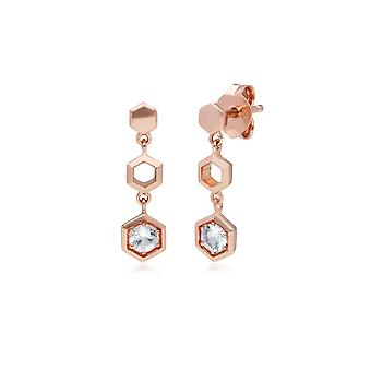 Pendientes colgantes de zafiro transparente inspirados en el panal en oro rosado de 9 qt 135E1631019