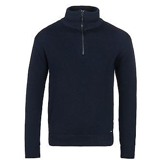 Armor Lux Chateaulin Navy Zip Neck Woollen Sweater