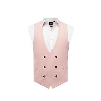 Avail London Mens Light Pink Waistcoat Skinny Fit Double Breasted