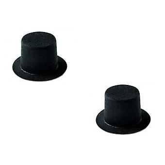 2 Flocked Mini Top Hats for Crafts - 73mm x 50mm