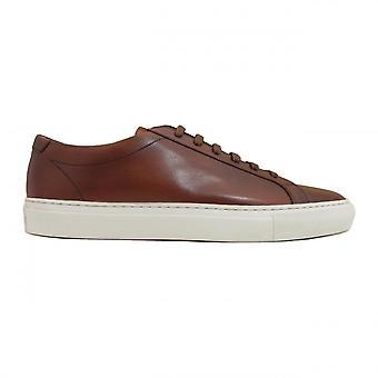 Loake Sprint Chestnut Painted Calf Leather Lace Up Trainers