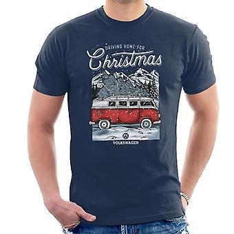 Volkswagen rijden thuis kerstboom camper mannen ' s T-shirt