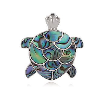 ADEN 925 Sterling Silver Abalone Mother-of-pearl Tortoise Pendant Necklace (id 4484)