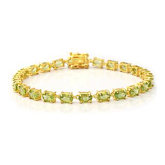 AA Peridot Tennis Bracelet Yellow Gold Plated Sterling Zilver, 11.28 Ct TJC