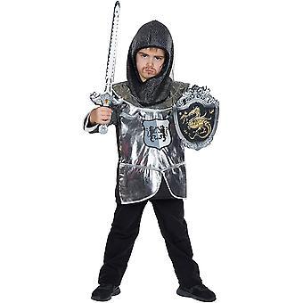 Lille Knight Børns Costume Carnival Knight Tunika 2 stk. Hood Boys Knight kostume